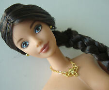 Barbie Doll Long Braided Black Hair, Brown Eyes, Gold Necklace NUDE NEW!