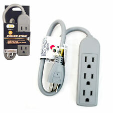 1.5  FT 3 Outlet Safety Surge Protector US Plug AC Wall Power Strip UL TOPZONE