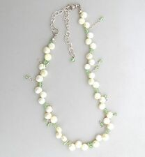Pearl and Green Crystal Necklace Sterling Silver