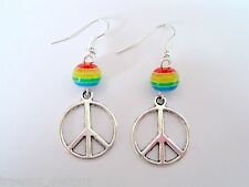 *ROUND PEACE SIGN RAINBOW BEAD* Beaded Drop Earrings SP New Gay interest