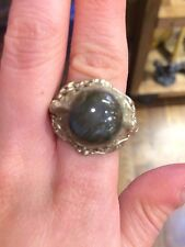 Vintage Holy Man Ornate Blue Flash Labradorite Ring from Indonesia Size 8