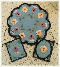 ~*Summer Rental*~Bird House Penny Rug/Candle Mat PATTERN with mini mats PATTERN