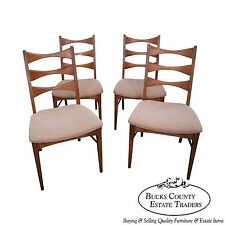 Mid Century Modern Set of 4 Walnut Bow Tie Ladder Back Dining Chairs