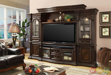 "Parker House Bella Traditional Dark Wood Entertainment Center 132.5"" Wall Unit"