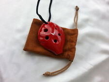 NOBLE OCARINA ~ CUTE LITTLE SOPRANO OCARINA,  RED CERAMIC - QUALITY OCARINA