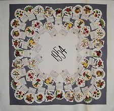 RARE!!! VINTAGE 1954 DATED CALENDAR MID-CENTURY PICTURE TABLECLOTH TABLE CLOTH