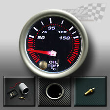 "OIL TEMP GAUGE 52mm 2"" SMOKED FACE 7 COLOUR DASH DISPLAY GAUGE MOUNT POD"