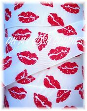 7/8 VALENTINE SMOOCHY SMOOCH KISS RED LIPS GROSGRAIN RIBBON 4 HAIRBOW BOW WHITE