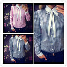 New Women Long Sleeve OL Shirt Peter Pan Collar Plaids Checks Button Blouse Tops