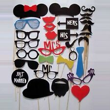 31Pcs Wedding Favors Accessories Photo Booth Props Funny Mask Mustache Lip New