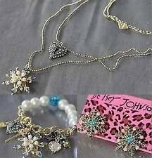 Betsey Johnson Fashion Jewelry snowflake necklace bracelet earrings set