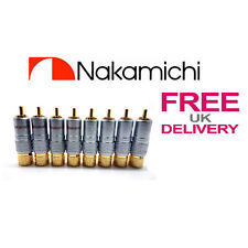 8x PCS 24K NAKAMICHI RCA Jack Plug Locking Connector 10mm **UK**