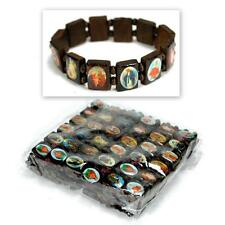 LOT OF 12 SAINT BEAD BRACELET Brown Wood Religious Icon Catholic Stretch Elastic