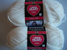 Red Heart Lisa DK yarn, Nature (cream/off white), lot of 2 (146 yds each)