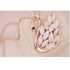 Luxury Girl  Women  Swan Pendant Gold Crystal Opal Long Chain Sweater Necklace