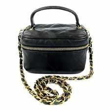 CHANEL VANITY SHOULDER BAG w/ CHAIN RARE VINTAGE QUILTED LEATHER BLACK CC GOLD