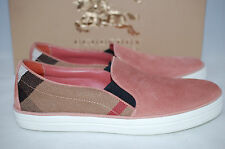 BURBERRY Gauden Pale Russe Pink Suede Leather Slip-On Sneaker Shoes 8 US / 38 EU
