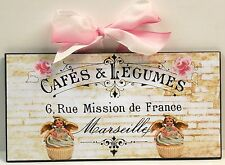 French Custom Cottage Angels Cherubs & Cupcakes Bakery Kitchen Wood Wall Plaque