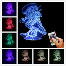 Independence Day 3D Alien USB Color Changing Mood Lamp Wood Base LED Night Light