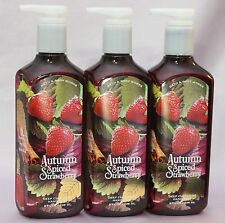 LOT 3 AUTUMN SPICED STRAWBERRY BATH & BODY WORKS HAND SOAP DEEP CLEANSING 8 OZ