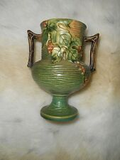 """Beautiful ROSEVILLE BUSHBERRY Green 156-6""""  Pottery Deco Arts & Crafts Vase"""