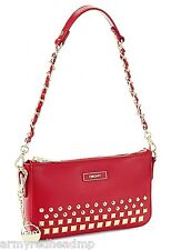 NWT DKNY Donna Karan Red Shiny Saffiano Gold Studded Small Shoulder Bag