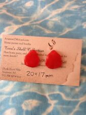 CHERRY RED Surf Tumbled Sea Glass Color Treated Sterling Silver Post Earrings