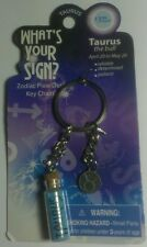 TAURUS BULL WHAT'S YOUR SIGN ? ZODIAC PIXIE DUST GLASS VIAL KEY CHAIN KEYCHAIN