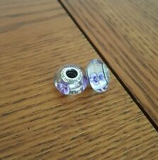 2 x Pandora purple flowers Murano Charms
