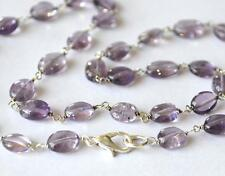 """17 """" LENGTH - SILVER PLATED NECKLACE - NATURAL AMETHYST 6X8 - 6.5X9 MM #C6343"""