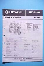 Service Manual-Istruzioni per Hitachi trk-5110, ORIGINALE