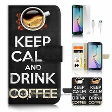 Samsung Galaxy ( S7 Edge ) Flip Wallet Case Cover P3136 Keep Calm Drink Coffee