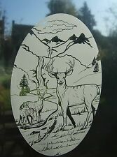 "Frosted Glass DEER Vinyl Window Decoration 10.5""x16"""