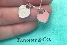 Tiffany & Co Sterling Silver Pink Enamel Mini Double Heart Tag Pendant Necklace