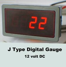J Type Digital LED Temperature Gauge, Meter 12v DC, Celsius or Fahrenheit.