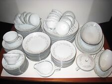 95 Piece Set Service for 12 Noritake China WESTVIEW 6320 White Rose Silver Trim