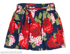 NEW Abercrombie & Fitch Womens Skirt KAYLIE Mini Floral Print Navy Blue Red Sz S