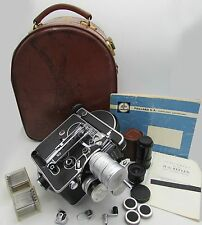 PAILLARD BOLEX H16 Reflex 16mm Movie Camera *4 Lenses* Leather Case Accessories