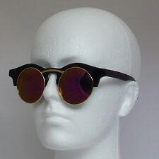 Pipel Stile Retrò rotonda Occhiali da sole neri con Cornice Oro Specchiato Revo Lens