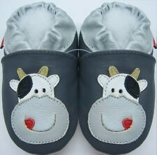 Minishoezoo soft sole leather kids slippers 5-6y cow gray