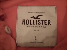Mens HOLLISTER Super cut! COTTON PIQUE ORANGE POLO T-SHIRT Size Large L