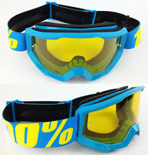 100% PERCENT STRATA MX MOTOCROSS MX MTB BIKE GOGGLES BLUE with YELLOW TINT LENS