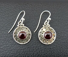 Garnet in Sterling Silver 925 Drop Dangle Earrings Handcrafted from India 001