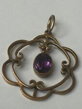 Pretty Antique Victorian 9Ct Gold Faceted Amethyst Pendant c1890's