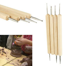 4 Pcs Wooden Handle Ball Stylus Clay Pottery Ceramics Sculpting Likable Tools