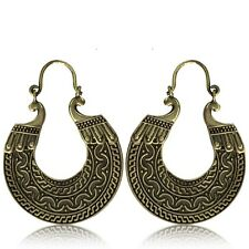 PAIR LARGE TRIBAL BRASS EARRINGS HANGER ORNATE ANTIQUED PLUGS HOOPS