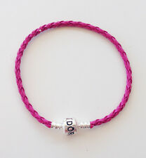 1PCS Dark Pink Leather Bracelets Chain Bangle Fit European Charms/Beads PL06