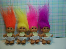 "FOUR STANDING BABIES WITH BIBS  - 2"" Russ Troll Dolls - NEW IN ORIGINAL WRAPPERS"