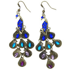 Retro Blue Rhinestone Peacock-Pattern Teardrop Tail Dangle Earrings AD