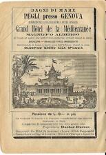 Stampa antica pubblicità HOTEL MEDITERRANEE casino Genova 1899 Old antique print